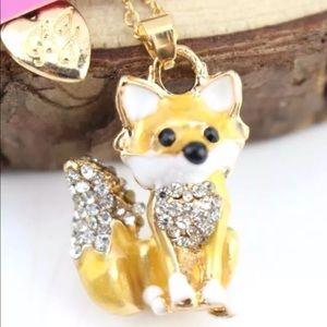 NWT✨ Betsey Johnson Crystal Fox Cute Long Necklace